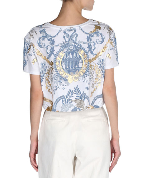 Cropped Metallic Floral T-Shirt, White/Gold/Blue
