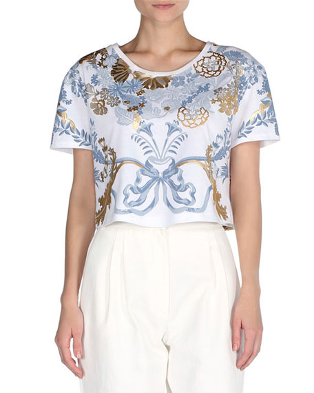 Fendi Cropped Metallic Floral T-Shirt, White/Gold/Blue