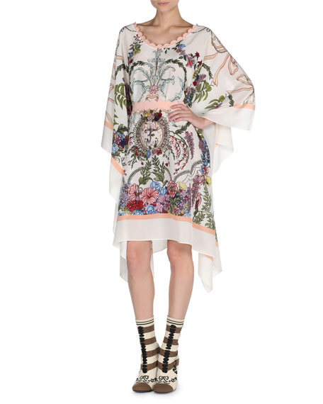 Fendi Long Blazon Floral Silk Caftan with Scalloped