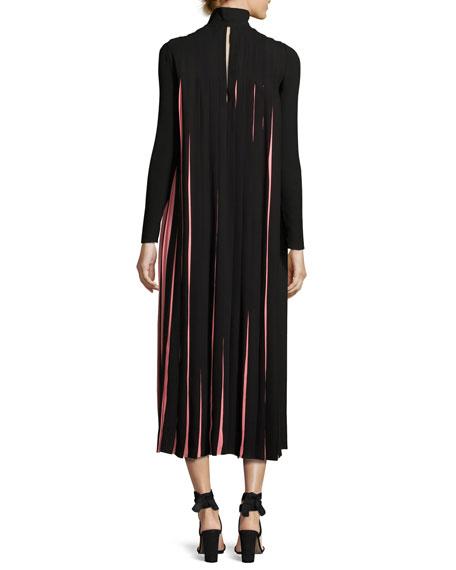 Love Blade Pleated Long-Sleeve Dress, Black/Multi
