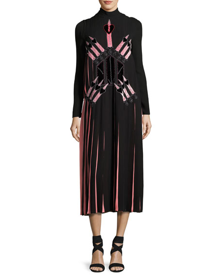 Love Blade Pleated Long-Sleeve Dress, Black/Multi