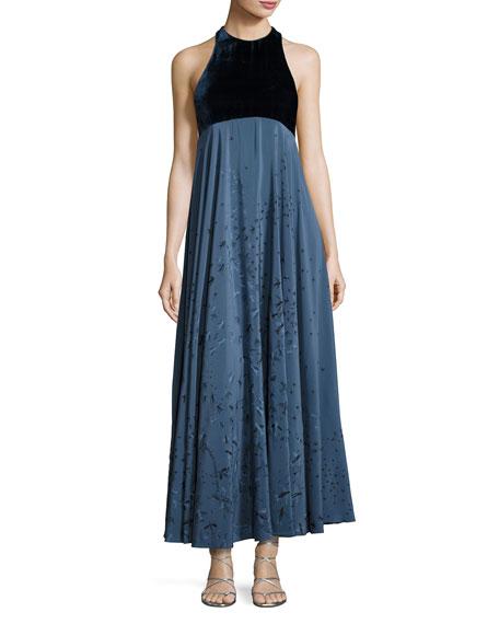 Valentino Metamorphosis Velvet Sleeveless Gown, Blue