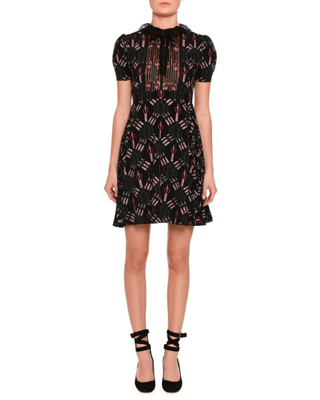 Valentino Love Blade Short-Sleeve Dress, Black