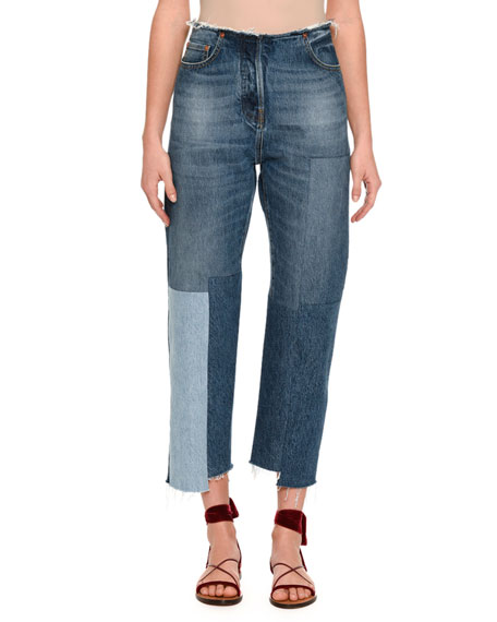 Valentino Patchwork Cropped Skinny Jeans, Light Blue
