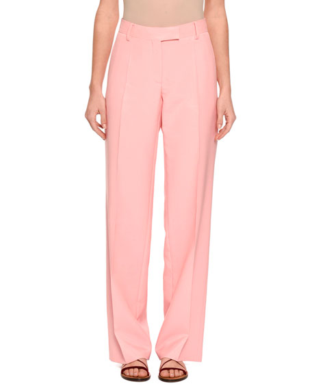 Straight-Leg Crepe Trousers, Pink