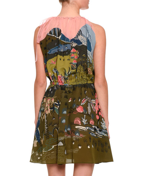 Garden of Delight Gathered-Neck Dress, Multi