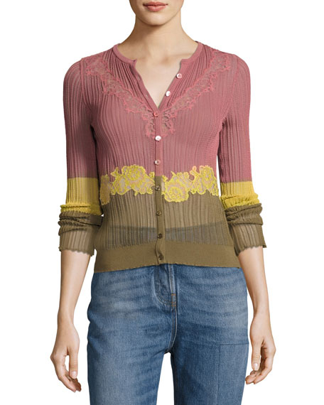 Valentino Lace-Inset Ribbed Cardigan, Dusty Rose/Yellow/Green