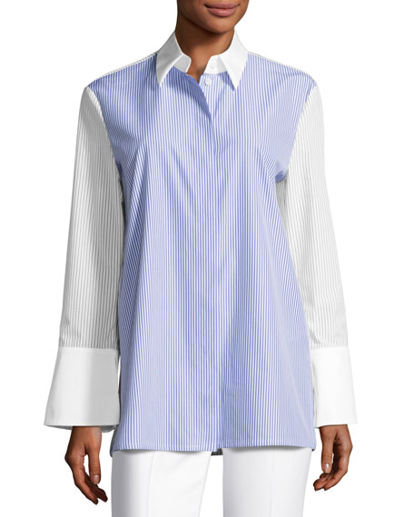 Pinstripe Wide-Cuff Tunic Blouse, White/Blue