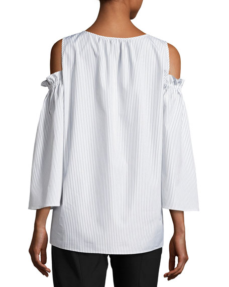 Pinstripe Cold-Shoulder Blouse, White