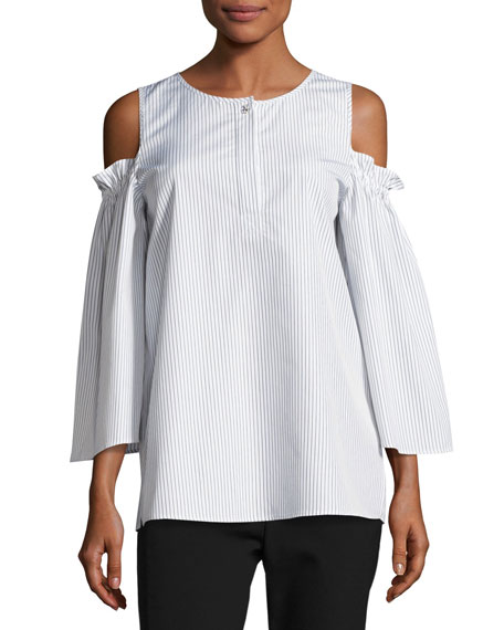 Pinstripe Cold-Shoulder Blouse, White