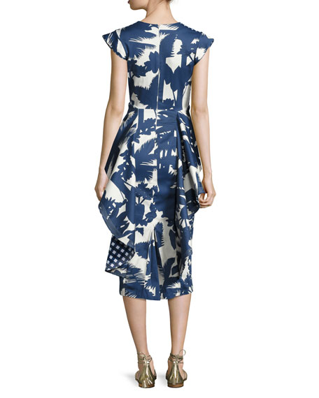 Palm-Print Deep-V Peplum Dress, Blue/White