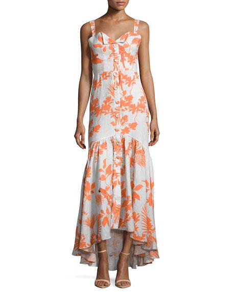 Johanna Ortiz Playa de Belen Toucan-Print Tie-Waist Dress,