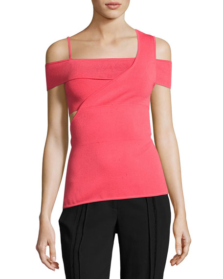 Cold-Shoulder Viscose Knit Bandage Top, Pink