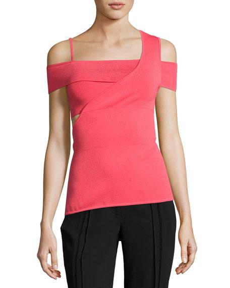 Jason Wu Cold-Shoulder Viscose Knit Bandage Top, Pink