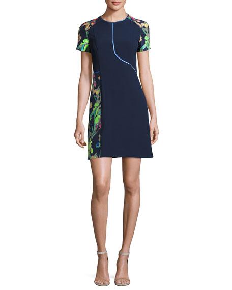 Jason Wu Short-Sleeve Floral Jacquard Sheath Dress, Navy