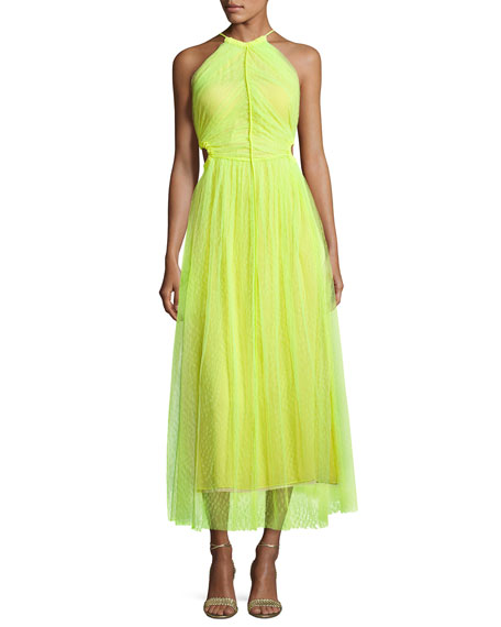 Jason Wu Twisted-Back Shadow Floral Midi Dress, Neon