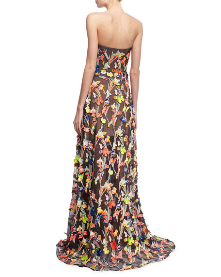 Neon Floral Strapless Gown, Multicolor