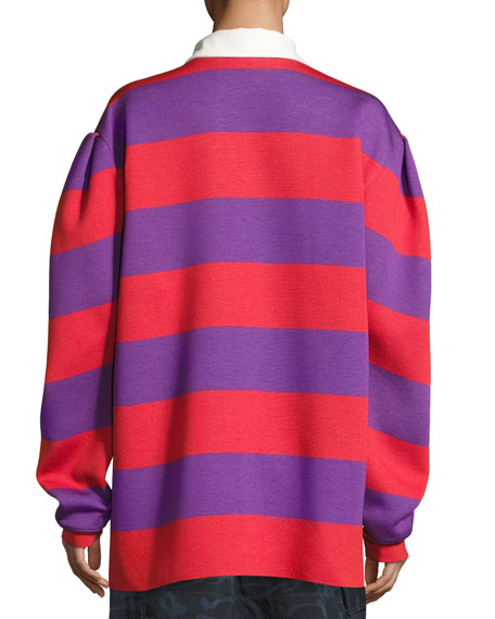 Striped Oversized Rugby Sweater, Red/Purple