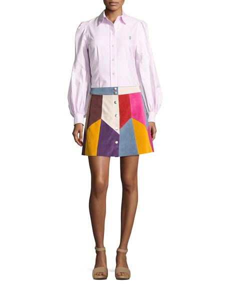 Patchwork Suede A-Line Skirt, Light Blue/Multi