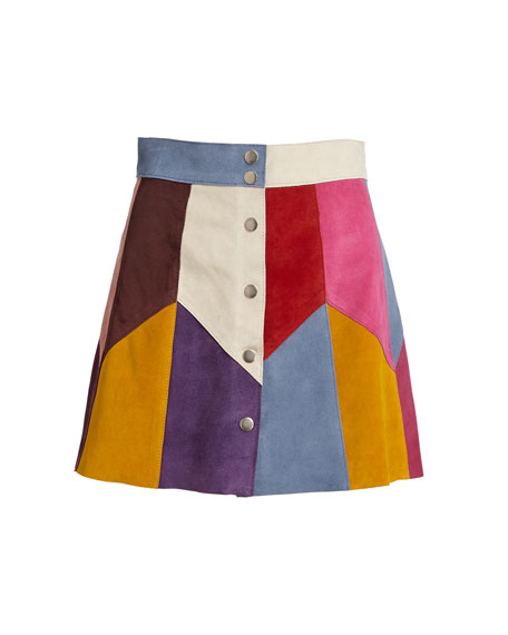 Patchwork Suede A-Line Skirt, Light Blue/Multi