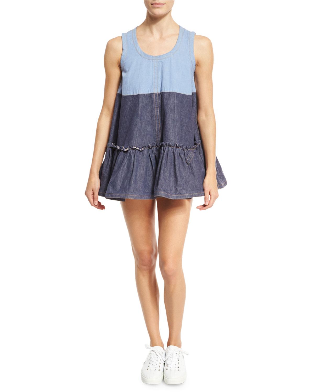 b85c7ceb5e Marc Jacobs Ruffled Denim Sleeveless Mini Dress
