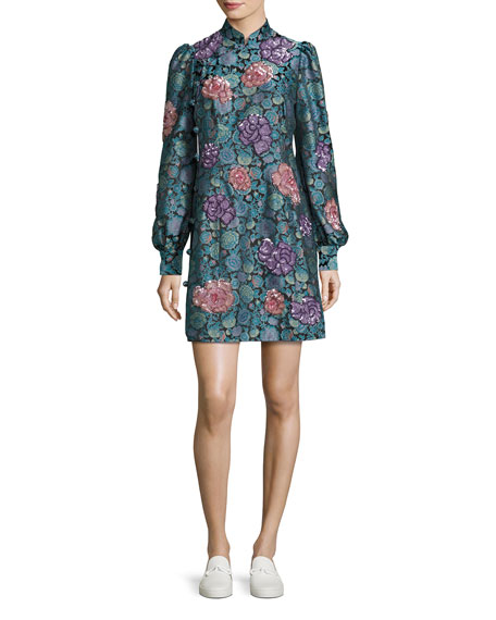 Marc Jacobs Rose Jacquard Long-Sleeve Mini Dress, Black/Multi