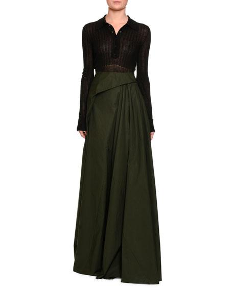 Pleated Cotton Maxi Skirt, Green/Black