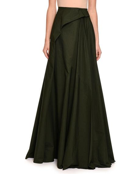 Bottega Veneta Pleated Cotton Maxi Skirt, Green/Black