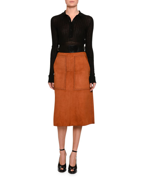 Suede A-Line Skirt w/Patent Waist, Luggage