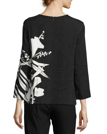 Leaf-Print 3/4-Sleeve Tunic, Black/Multi