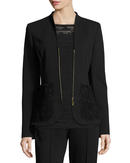 Escada Lace-Pocket Zip-Front Jacket, Black
