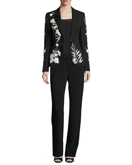 Leaf-Print Jacquard Jacket, Black/Multi