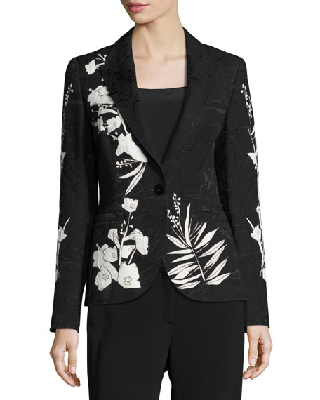 Escada Leaf-Print Jacquard Jacket, Black/Multi