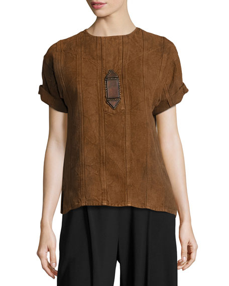 Sahara Heavy Linen Tee, Brown