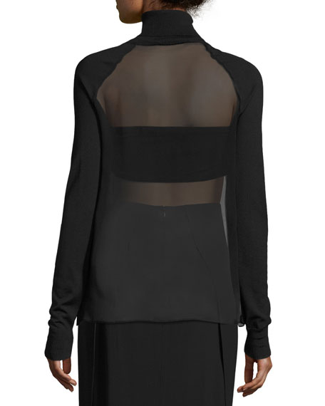 Sheer-Panel Turtleneck Top & Bandeau, Black