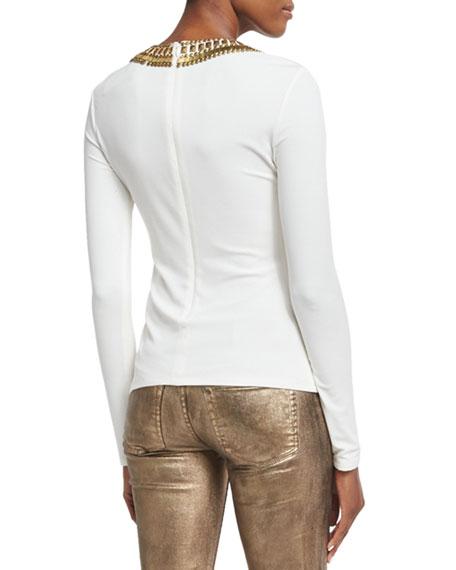 Abner Beaded Long-Sleeve Top, Ivory