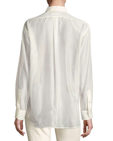 Damien Voile Long-Sleeve Blouse, Cream