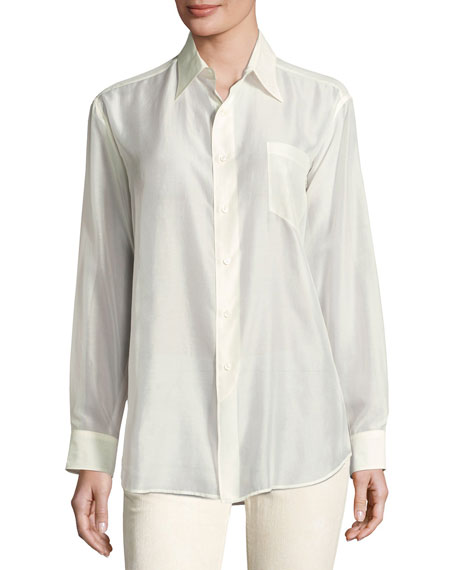 Ralph Lauren Collection Damien Voile Long-Sleeve Blouse, Cream