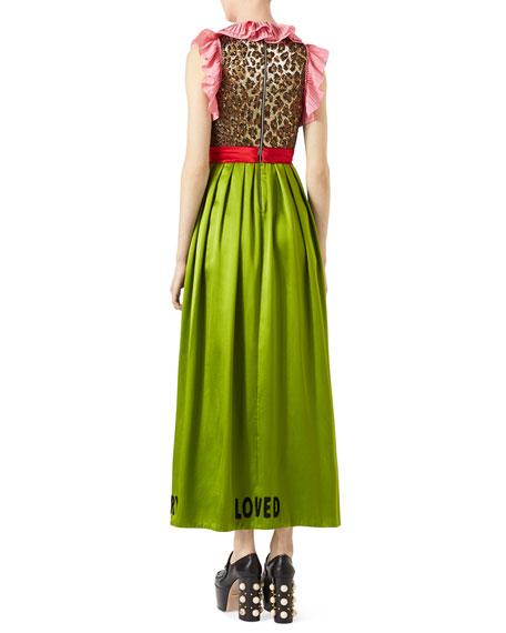 Sleeveless Silk Duchesse Dress with Leopard Jacquard Bodice, Lime