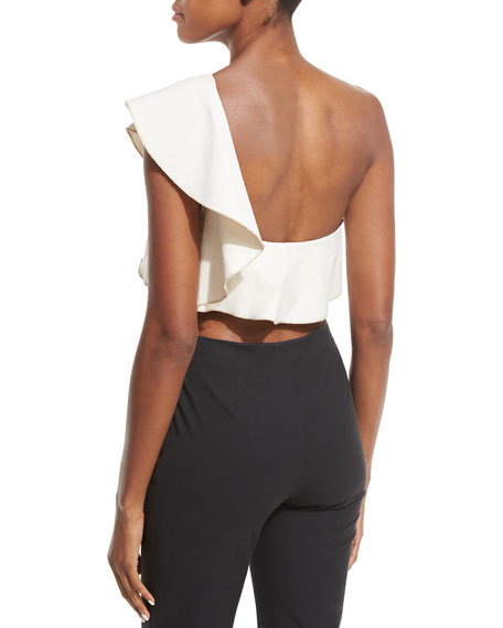 Hayo Ruffled One-Shoulder Crop Top