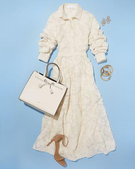 Floral Fil Coupe A-Line Tea-Length Skirt, Ivory