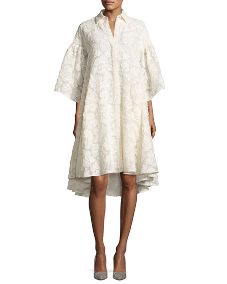Co Floral Fil Coupé Flared-Sleeve High-Low Shirtdress, Ivory