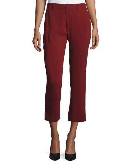 Co Crepe Cigarette Pants, Dark Red