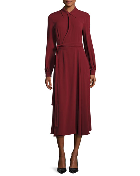 Long-Sleeve Collared Midi Wrap Dress, Dark Red