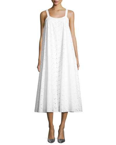 Sleeveless Eyelet Lace Trapeze Midi Dress, White