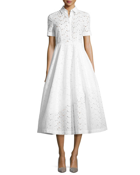 Co Eye Lace Tea-Length Shirtdress, White