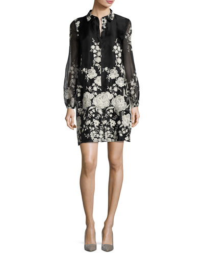 Rose-Embroidered Long-Sleeve Tunic Dress, Black/White