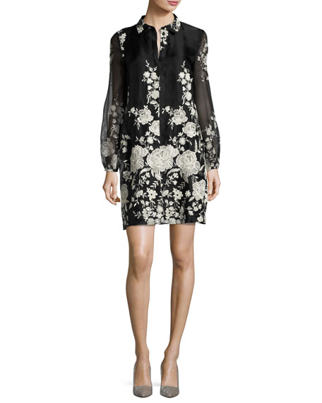 Co Rose-Embroidered Long-Sleeve Tunic Dress, Black/White