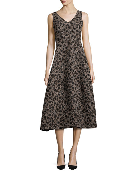 Co Floral Jacquard Sleeveless A-Line Dress, Black/Gold
