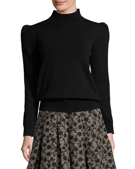 Co Mock-Neck Sweater with Exaggerated Shoulders, Black